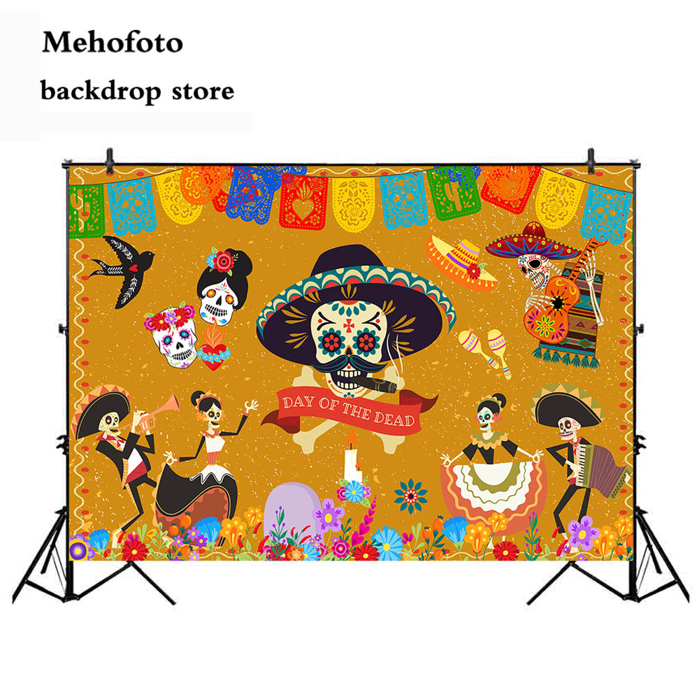 Mehofoto Day of the Dead Photo Backdrop Death Photography Background ...