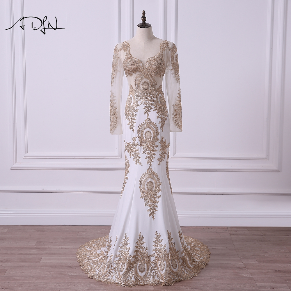 ADLN Mermaid Long Sleeve Evening Dresses Sexy Illusion Bodice Ivory Special  Occasion Gown 8d15e9bab834