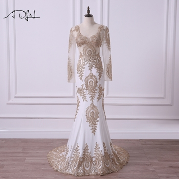ADLN  Mermaid Long Sleeve Evening Dresses Sexy Illusion Bodice Ivory Special Occasion Gown