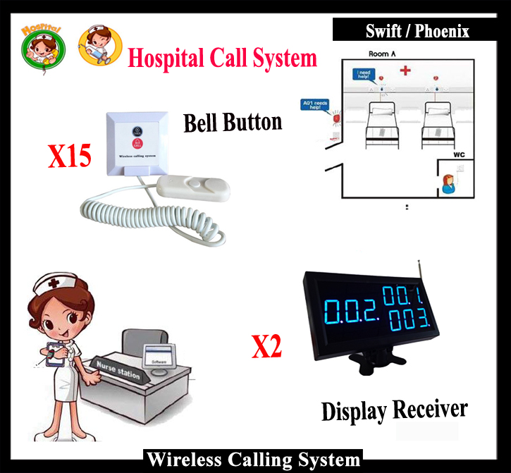 Wireless Nurse Calling System With 15pcs Nurse Bell Button And 2 Management Display For Hospital Clinic Equipment wireless service call bell system popular in restaurant ce passed 433 92mhz full equipment watch pager 1 watch 7 call button