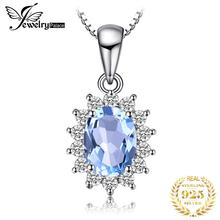 JewelryPalace 925 Sterling Silver Pendants Necklace Princess Diana William Kate Natural Blue Topaz Halo Pendant Without Chain