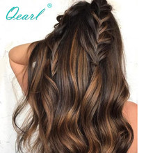 Destaca el Color frente de encaje pelucas de cabello humano ondulado 150% densidad 180% Remy brasileño pelo Pre-arrancado cabello 13x4 peluca Qearl
