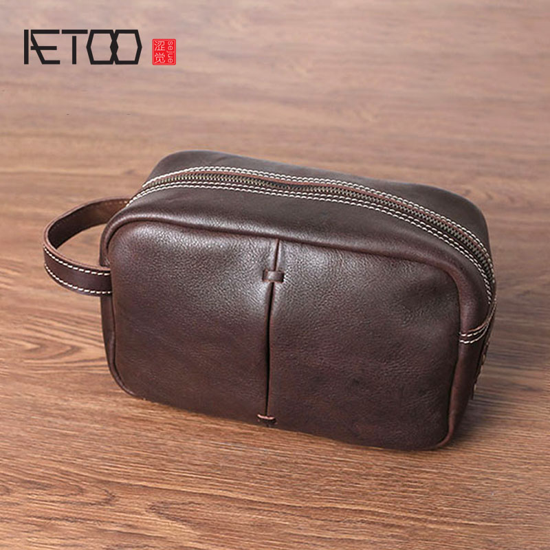 AETOO Handmade leather handbag mens bag mobile phone bag retro head cowhide male hand handbagAETOO Handmade leather handbag mens bag mobile phone bag retro head cowhide male hand handbag