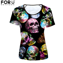 FORUDESIGNS Women t shirt Street Punk Style 3D Skeleton Skull t-shirt Womens Young Girls tops & tee Shirt Casual tshirt Feminist