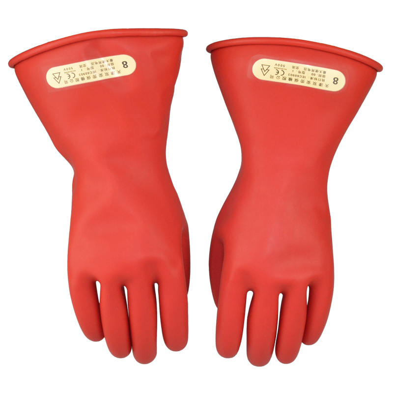 Free shipping 31cm length 2.5KV insulated latex working gloves using for transmission line /pole line & electric power industry