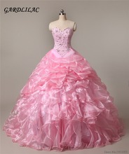 2017 New Cheap Pink Quinceanera Dresses Ball Gown with Beads Crystal Gowns Long Prom dress