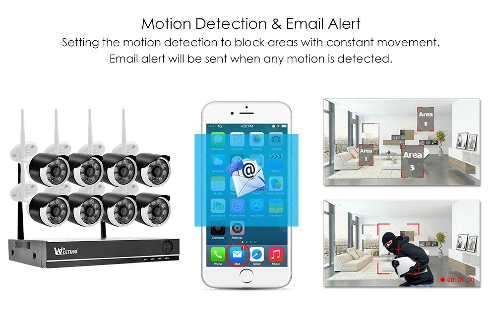 Wistino 8CH Wifi CCTV Camera HD 1080P System Security IP Camera Wireless NVR Kit Outdoor Waterproof Surveillance Kits P2P XMEye  (4)