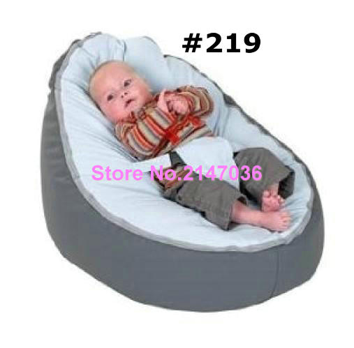 Grey with blue seat baby bean bag chair , Newest Lovely Infant's Bean Bag Baby Portable Chair No Fillings