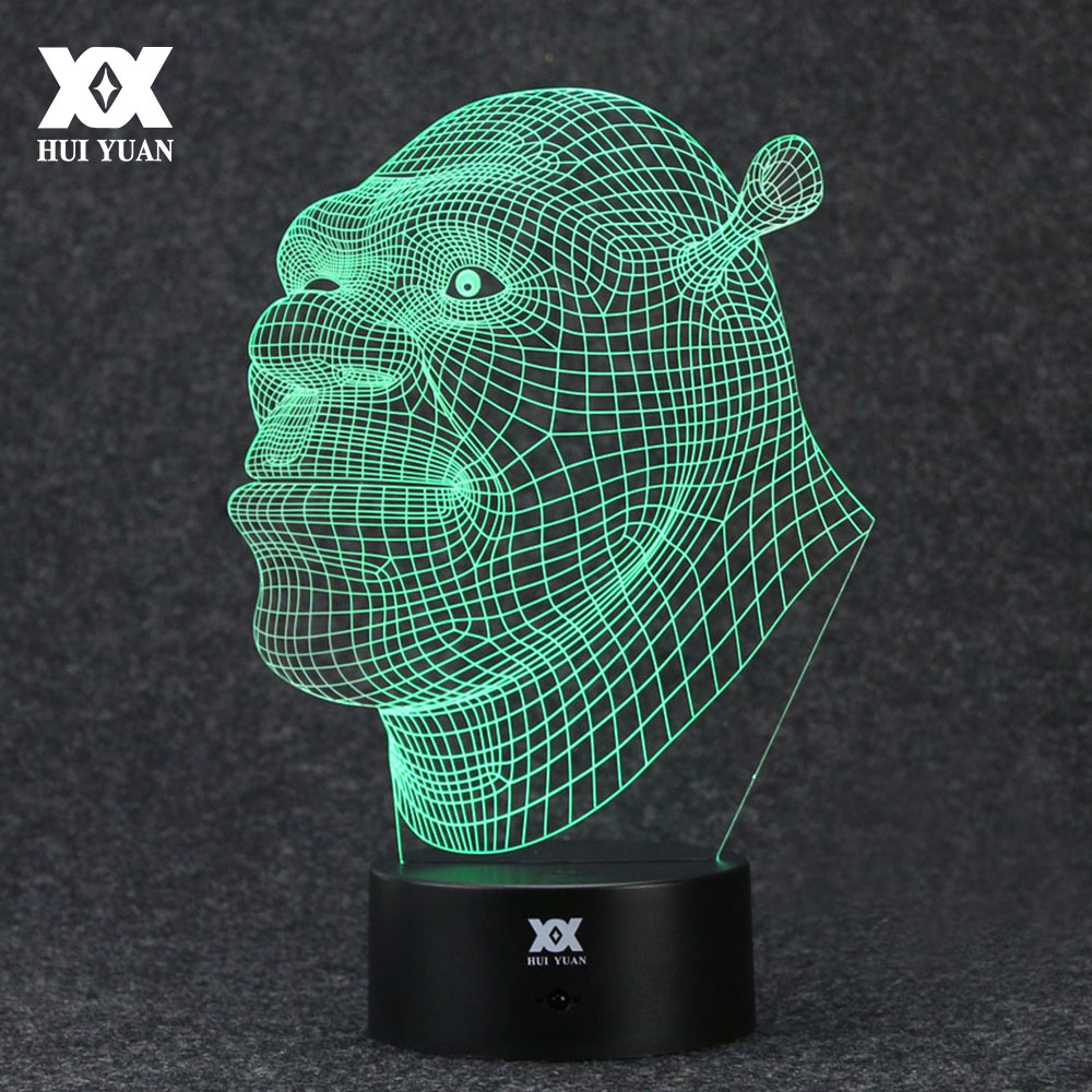 Shrek Lamp dolphin 3D Lamp LED 7 Colors Novelty Night Lights USB Holiday Light Glowing Christmas Gift HUI YUAN Brand