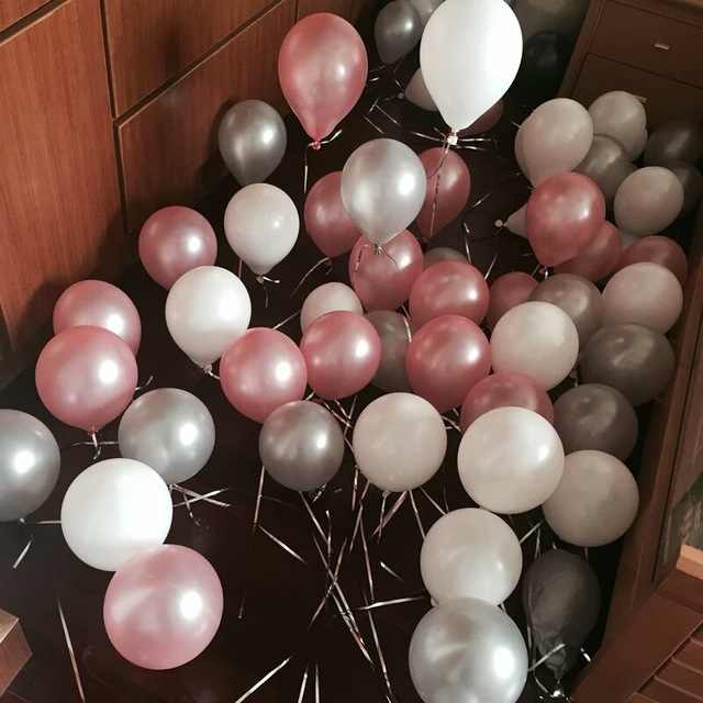 50pcs 10 inch Pearl Pink Sliver White Latex Balloons Wedding Anniversary Valentine's Day Birthday Party Decor Helium globals