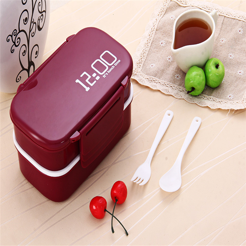 Large Bento Eco-Friendly Lunch Box Rectangle Tableware Microwave Lunch Box For Kids Original Japan Style Double Tier Lunch Box