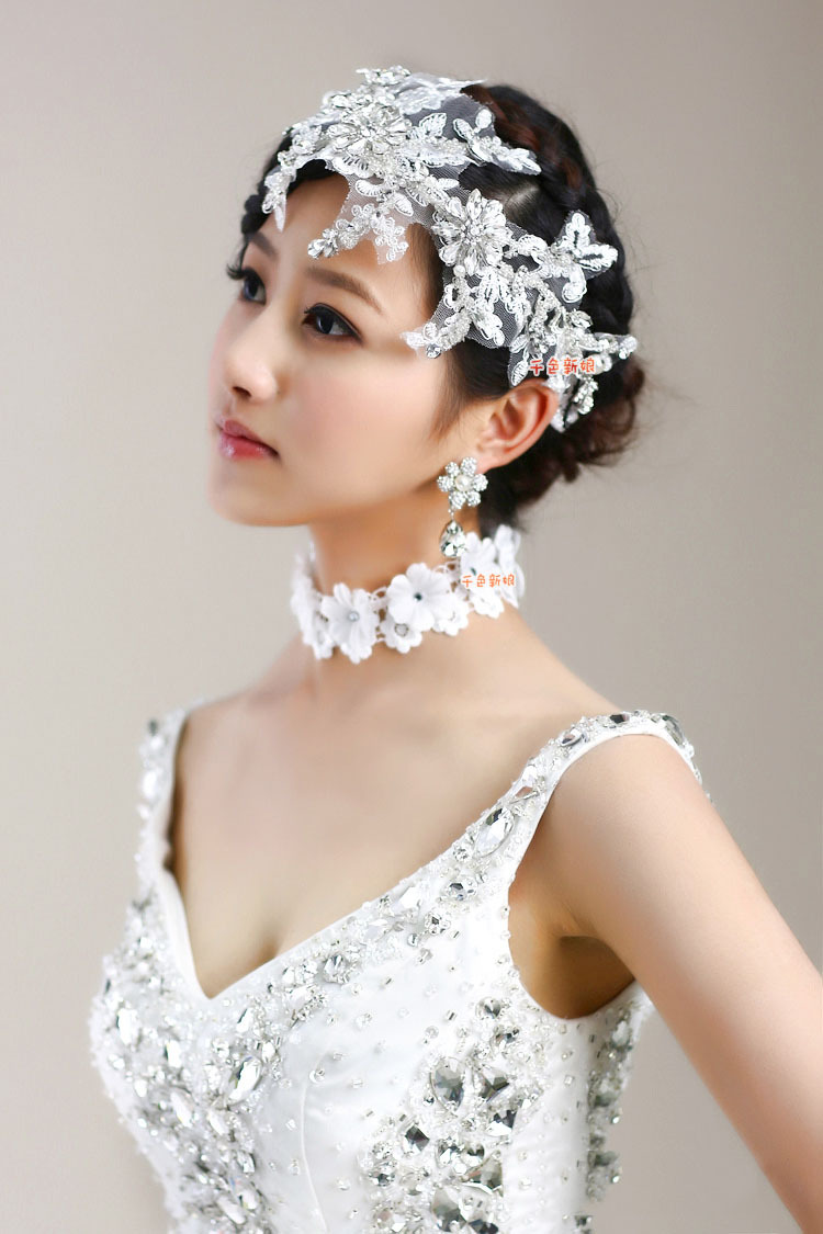 New Wedding Lace Crystal Hair Accessories Bridal Rhinestone Flower