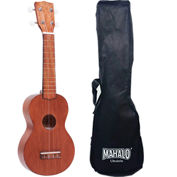 Mahalo MK1TBR Ukulele soprano with case, color Transparent Brown, series Kahiko luxury brown 48 roller and fountain pens binder case holder pvc zipper free shipping