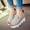 2017 Nueva cuña de la plataforma Ascensor zapatos de mujer de primavera y verano nueva Corea sandalias de suela gruesa mollete lona de Las Mujeres zapatos de tacón alto