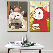 DIY colorings pictures by numbers with colors Cute cat White cat Flower cat picture drawing painting by numbers framed Home(China)