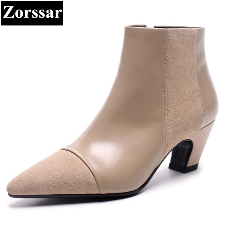 {Zorssar} 2018 NEW Fashion Women Boots High heels ankle boots pointed toe womens Chelsea Boots autumn winter women shoes HOT