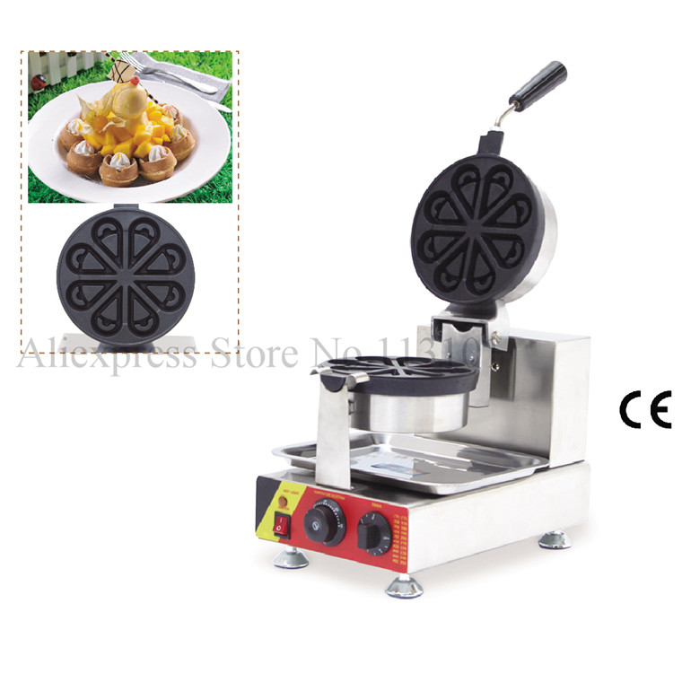 Rotate Eight Petals Shape Waffle Maker Waterdrop-shaped Waffle Machine Non-stick Cooking Surface Rotated Handle