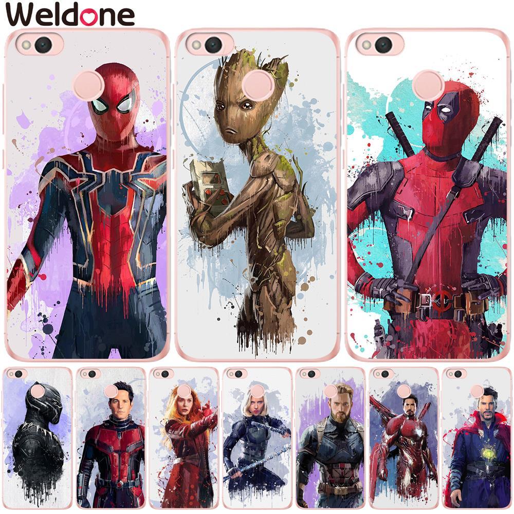 Avengers-Cases Etui Groot Marvel Spiderman Iron-Man Xiaomi Mi Redmi Mi6 Cases-Cover Note