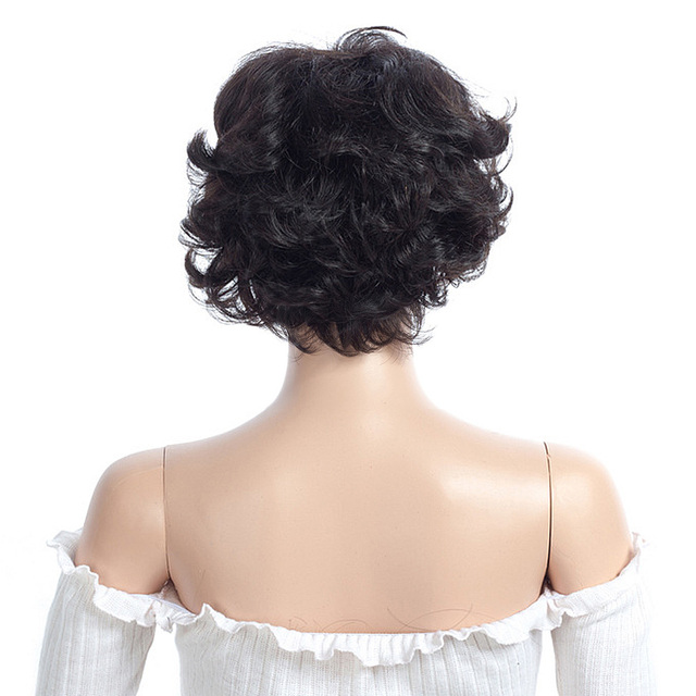 Salonchat Natural Afro Short Curly Wigs For Women 100% Remy Hair Extension Brazilian Jerry Curl Human Hair Wigs With Bangs