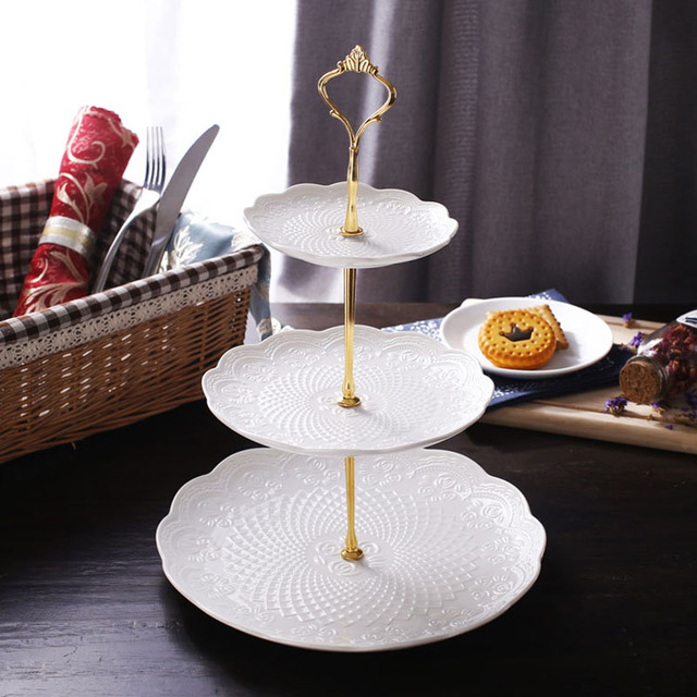 Modern Style Elegant Engraving Bone China Dessert u0026 Fruit Plates Stand (3 Layers) with & Modern Style Elegant Engraving Bone China Dessert u0026 Fruit Plates ...