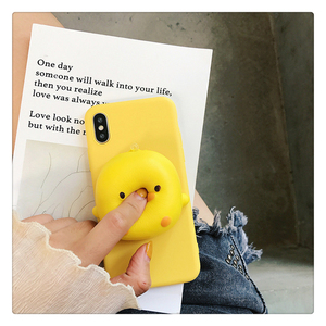Yellow Duck Phone Case For Huawei Y6 2018 Y7 Prime Y9 2019 Y3 Y5 Lite 2017 kneading Reduce Stress Toy Soft silicone Cover(China)