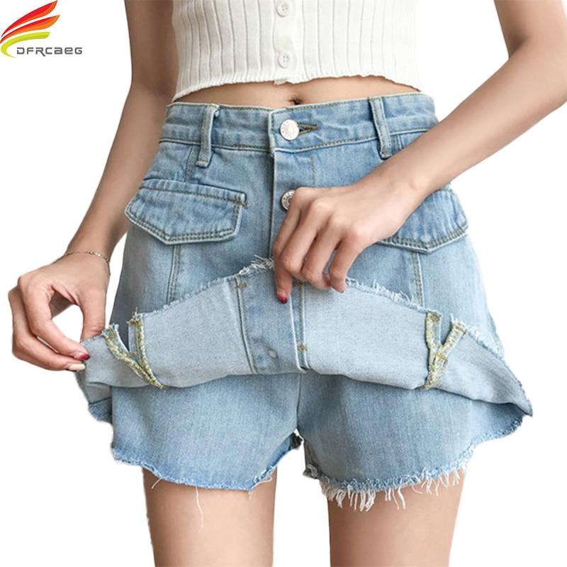 Summer 2018 Women High Waist Shorts Skirts Single Button Blue And Sky Blue Pockets Denim Shorts Women Tassel Casual Short Jeans