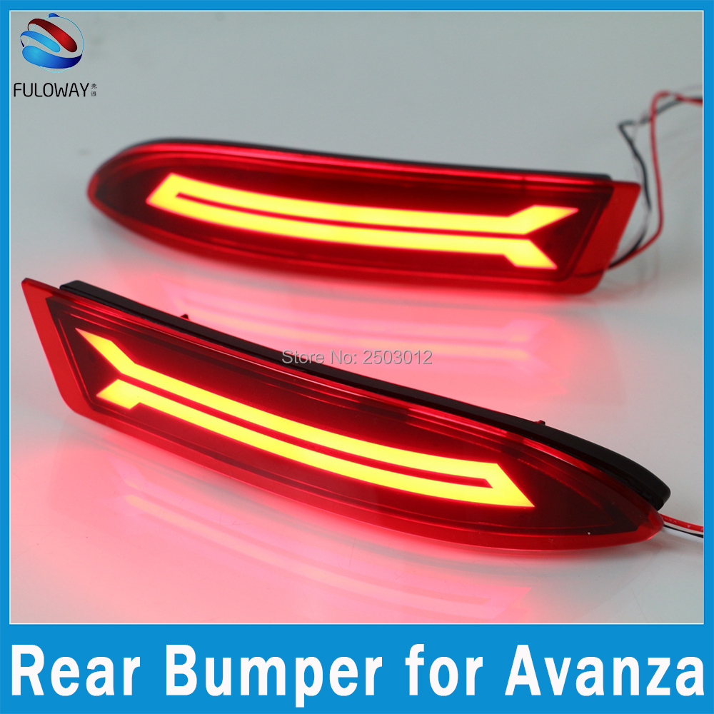 Multi-function For Toyota Avanza 15-16 LED Tail Lights Assembly Fog Rear Bumper Lights Brake Lamp DRL Warning Light Car Styling dongzhen fit for nissan bluebird sylphy almera led red rear bumper reflectors light night running brake warning lights lamp