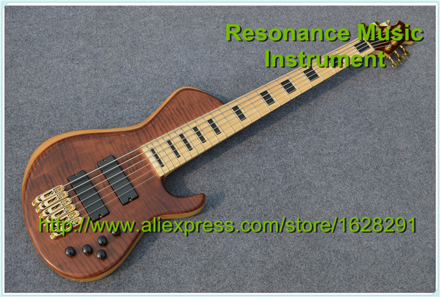 100% Real Pictures Custom Shop 6 Strings Bass Guitar Maple Neck Back Lines Block Inlais In Stock