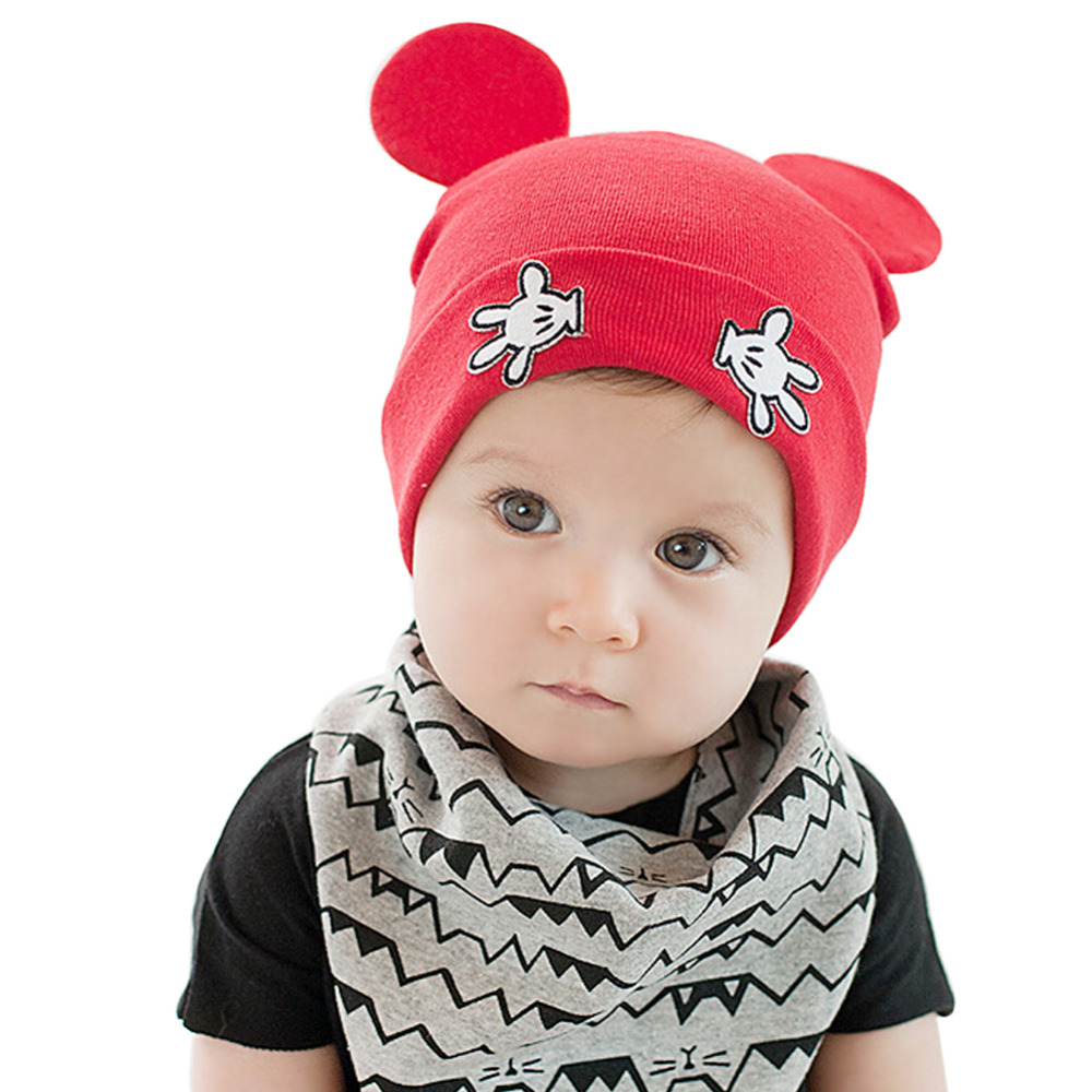 Hot New 2018 Newborn Baby Boys Girls Cute Mouse Ear Crochet Outfits Beanies Hat Unisex Kids Photography Props Caps Skullies Z1