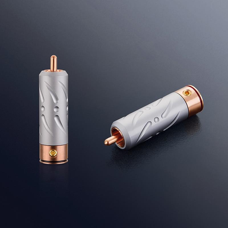 купить Free shipping 4Pcs Viborg VR109 Pure Red Copper RCA Plug soldering connectors hifi Audio RCA Plug connector по цене 4751.37 рублей