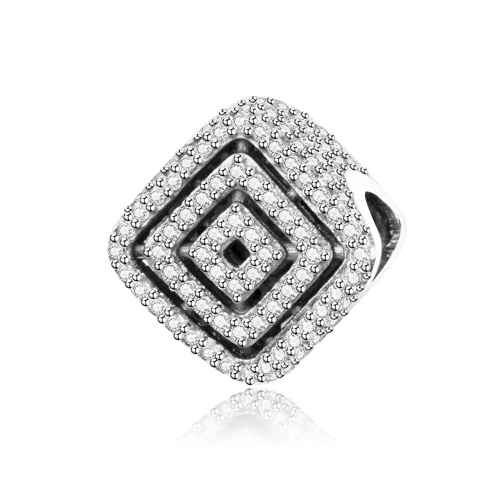 Fits Original Pandora Charms Bracelet DIY Jewelry Accessories 925 Sterling Silver Pave Dazzling CZ Square Openwork Charm Beads