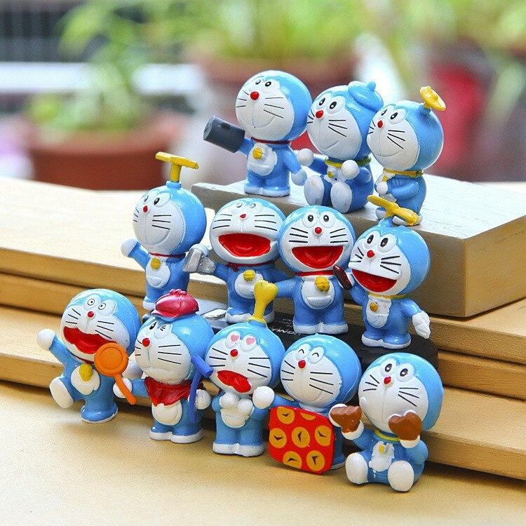 Anime Cartoon Cute Doraemon Mini PVC Figure Model Toys Dolls12pcs/set Child Toys Christmas Gifts