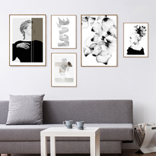 Simple Black White Fashion Girls Posters And Prints Nordic Wall Art Canvas Painting Pictures Decoration