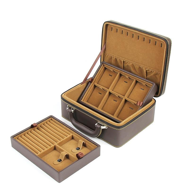 1 pièces bleu/cuir synthétique polyuréthane marron bijoux cadeau organisateur étui collier en cuir boîte pour bijoux collier emballage mallette de rangement