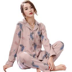 2 шт. хлопок пижамный комплект ночное белье Pijama для женщин белье Теплая пижама одежда с длинным рукавом домашняя Femme костюм