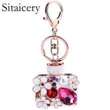 Sitaicery Fashion Keychain Gold Keychain Crystal Metal Flower Key Chain Keyring Charm Bag Charm Pendant Car Gift Wholesale Price