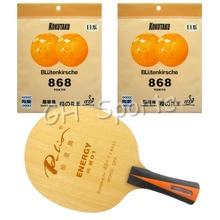 Pro Table Tennis PingPong Combo Racket Palio ENERGY 01 Blade with 2x KOKUTAKU BLutenkirsche 868 Tokyo Rubbers Long Shakehand FL