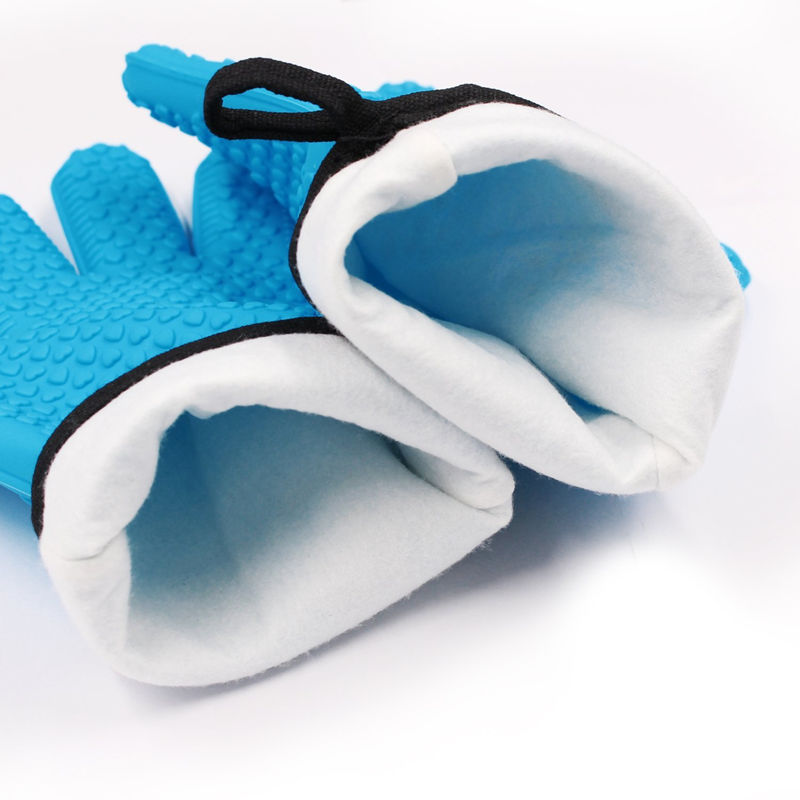 1 Pair Silicone Oven Mitt Glove With Internal Protective Cotton Layer For Grilling 2