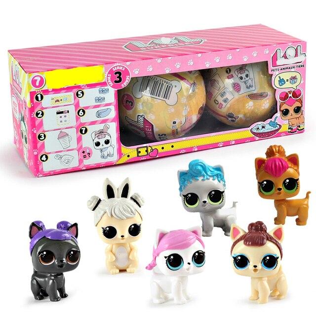 3 шт./лот Boneca LOL домашних животных фигурка героя randmon LOL кукла домашние животные собака с яйцом мяч игрушки для детей