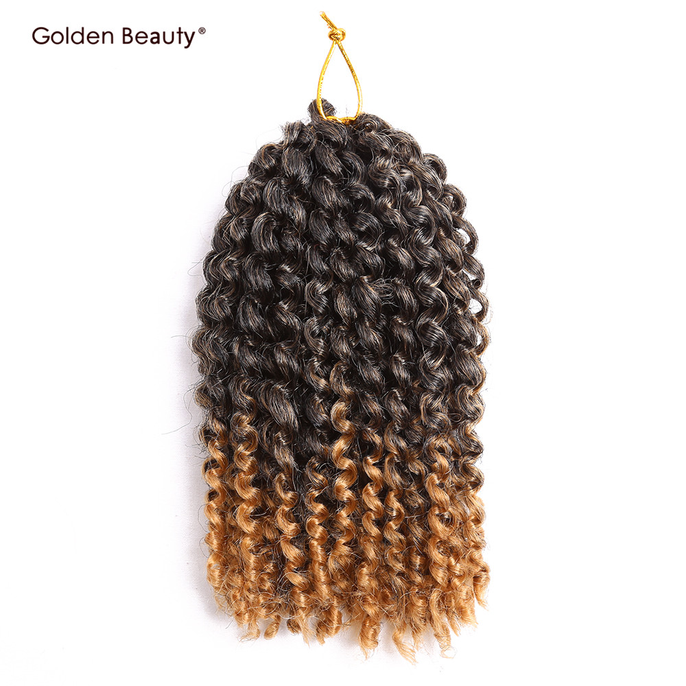 8inch Crochet Braids Synthetic Braiding Hair Crochet Hair Extensions Short Curly Hair 3pcs/pack Golden Beauty