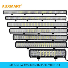 Auxmart 12″ 23″ 28″ 31″ 36″ 44″ 50″ 6D 3-row LED Light Bar combo beam Offroad work light 12V 24v SUV ATV 4×4 4WD trailer trucks