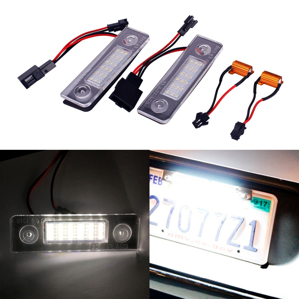 2Pcs Car-styling LED License Plate Light Lamp for Volkswagen VW Skoda Octavia Roomster 5J 13.5V External Lights Accessories no error car led license plate light number plate lamp bulb for vw touran passat b6 b5 5 t5 jetta caddy golf plus skoda superb
