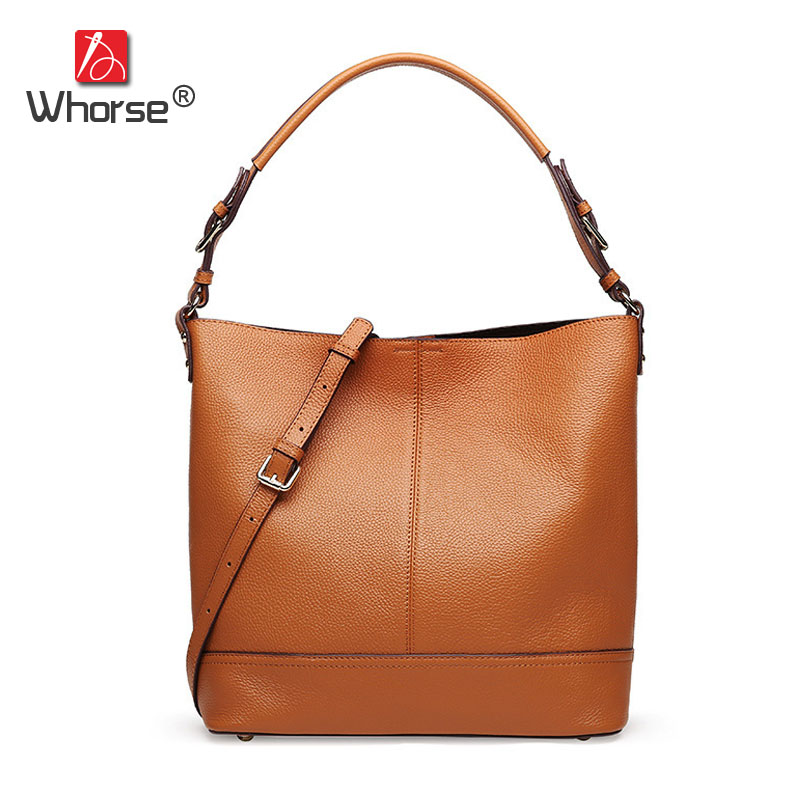 Natural Cowhide Bucket Bag Genuine Soft Leather Lady Cowhide Handbag Tote Composite Shoulder Messenger Bags For Women W08890 genuine leather fashion women handbags bucket tote crossbody bags embossing flowers cowhide lady messenger shoulder bags