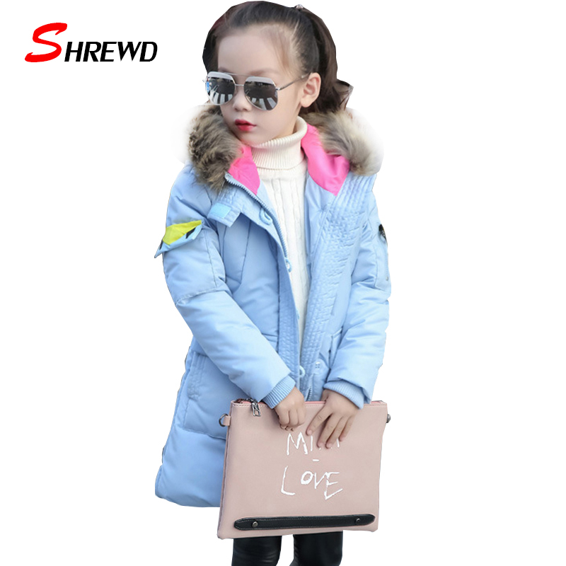 ФОТО 2017 Girl Winter Down Jackets Fashion Children Coats Warm 100% Thick Duck Down Kids Outerwears For Cold -30 Degree 5585W