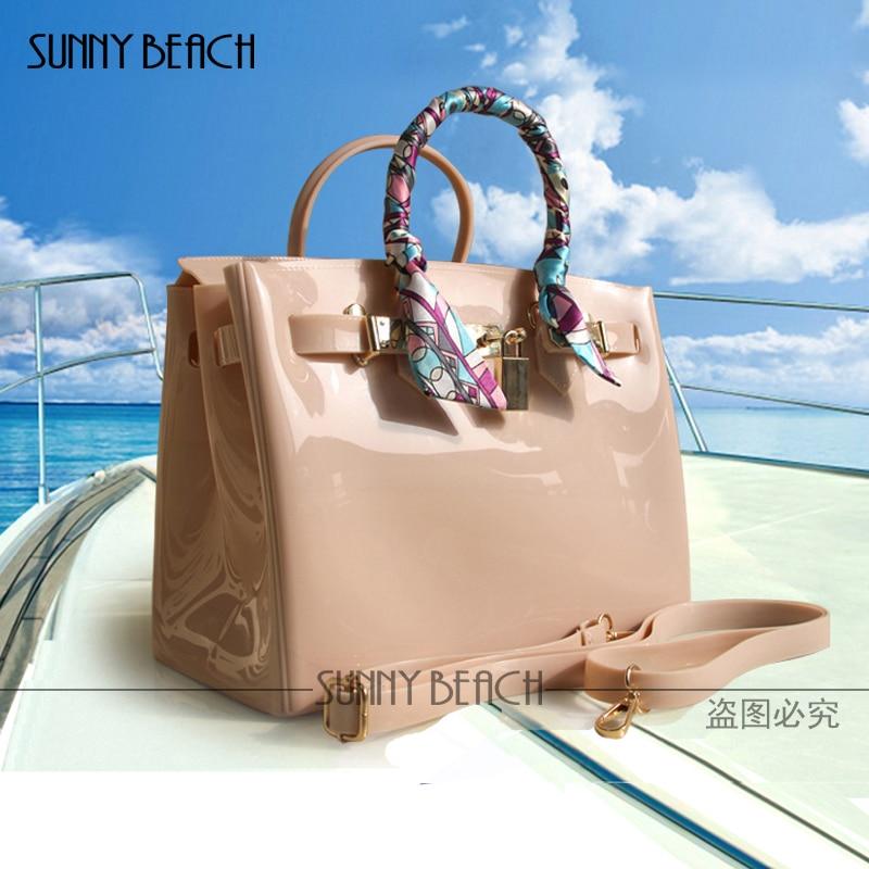 2017 hot sale new luxury handbags women bags designer women fashion candy color handbag Jelly bags PVC waterproof beach bag