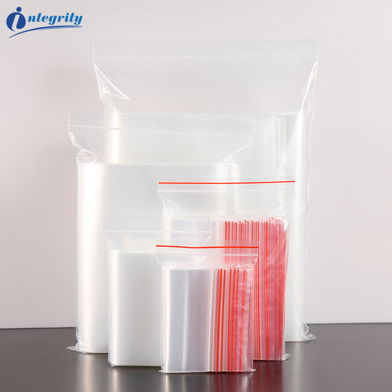 Popular Product  INTEGRITY 500pcs small size Reusable Clear Zip lock plastic packaging bag Transparent Self Sealing