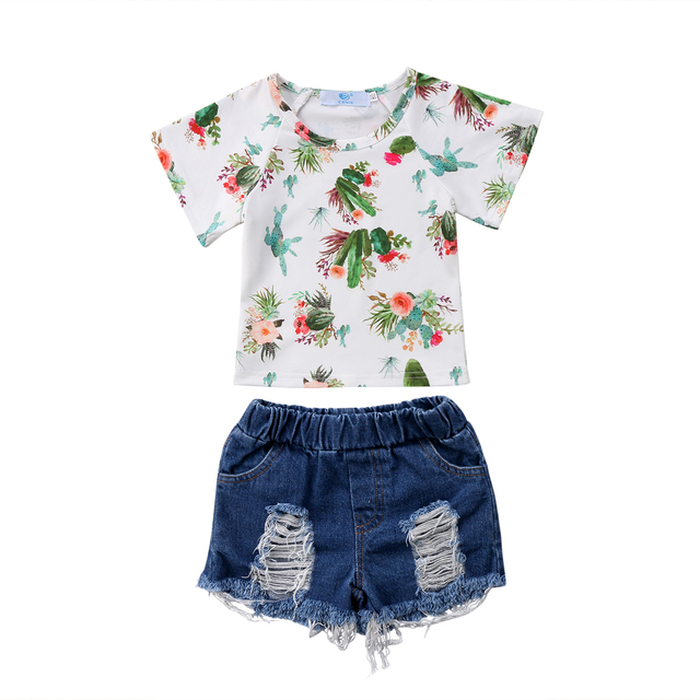 952e7b971 Baby Girls cactus Clothes Set Toddler Kids Tops T-shirt Ripped Denim Shorts  Outfits Set