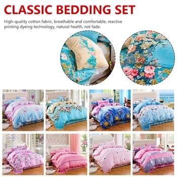 AB Side Duvet Cover Classic Bedding Set 4pcs/set Grey Blue Flower Bed Linen  Duvet Cover Set Pastoral Bed Sheet