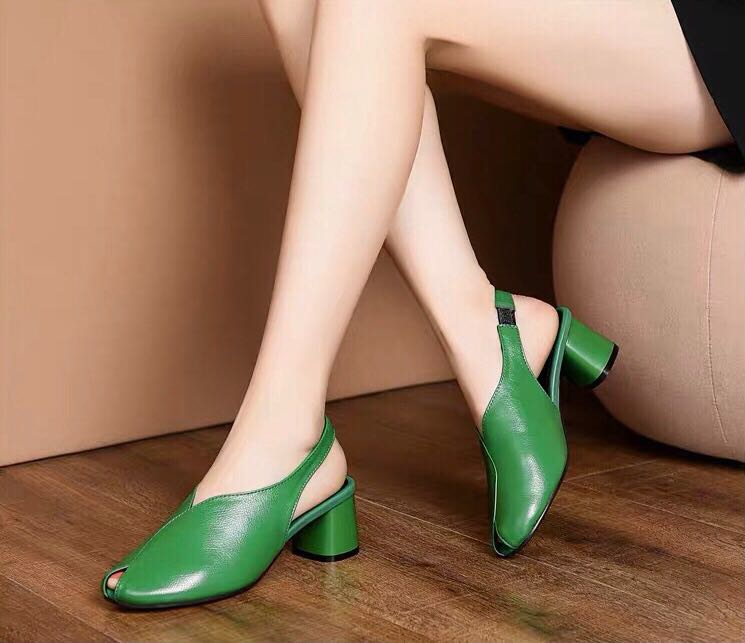 Newest Green Women's High Heels Shoes Explosive Coarse-heeled Female Pumps Low Top Lady's High Heels Shoes