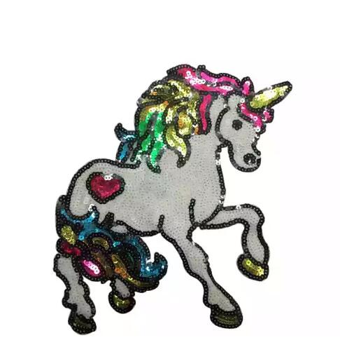 Color Sequins Unicorn Patches for Kids Clothes Sew On Paillettes Embroidery Patch DIY Accessory Fashion Aminals Horse Patches